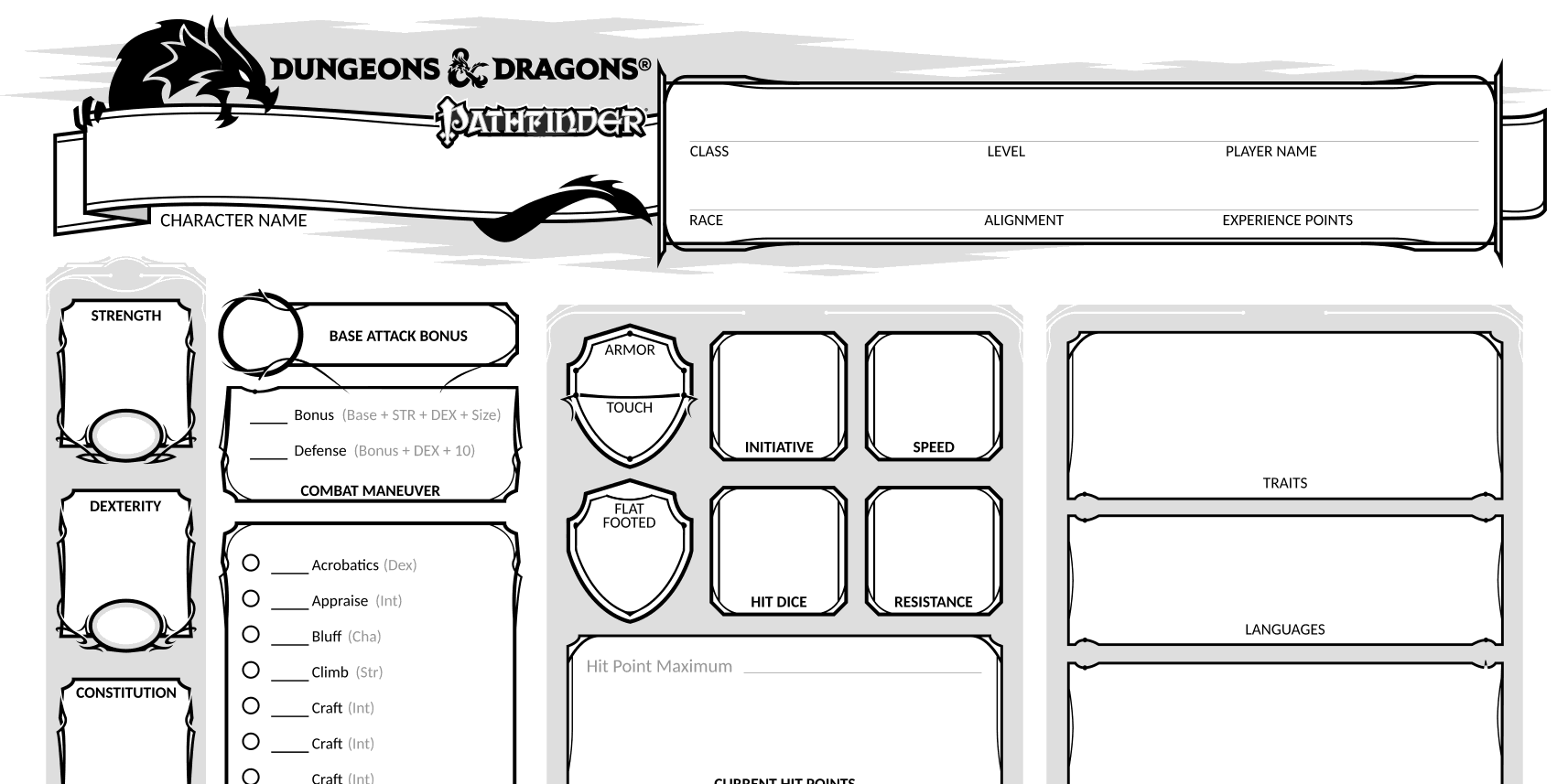 Pathfinder 5e Character Sheet | Mixed Signals