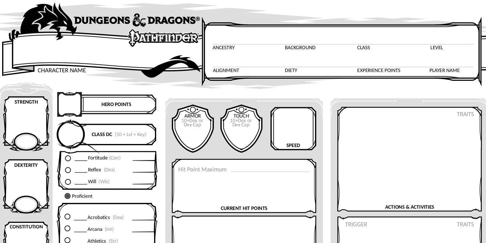 Revised Pathfinder character sheet